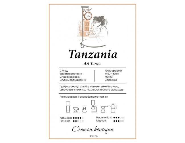 Кава CREMON Tanzania AA Tanga 250 г